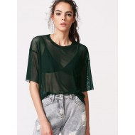Drop Shoulder Boxy Sheer Mesh Top VELWALT