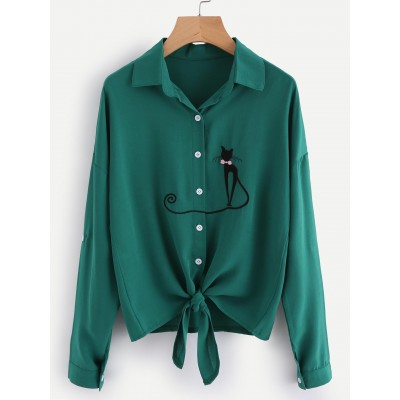Drop Shoulder Cat Embroidered Knotted Hem Shirt OCICPZA