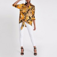 Yellow floral print tie front top LCRGGHF