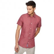 RJR.John Rocha - Pink linen blend short sleeve tailored fit shirt YULWZHZ
