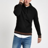 Black wasp embroidered slim fit tipped hoodie OICFAKM