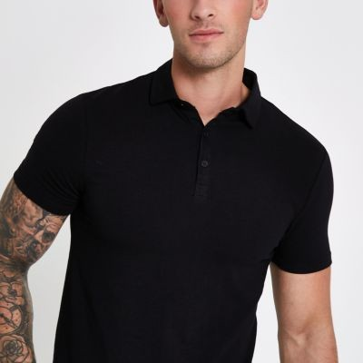 Black essential muscle fit polo shirt CRPXVOA