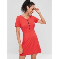 Button Up Ribbed Mini Dress - Red L OWHCOJB