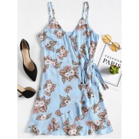 Floral Ruffles Wrap Dress - Windows Blue S BHEMAGH