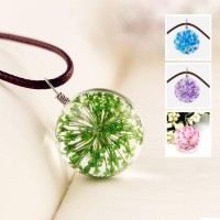 Glass Flower Bud Pendant Necklace SGPWDRA