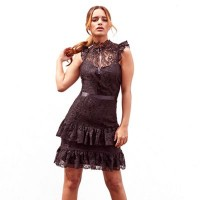 Sistaglam - Black 'Jasmine' all over lace frill mini dress ZUJFSLZ