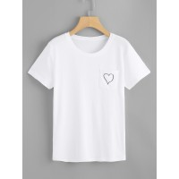 Heart Print T-shirt PFZVCLY